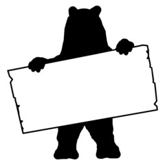 bs1 - BearSign - bear with blank signpost in black - long g1719