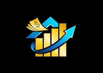house,dollar,arrow,logo,home,money,finance,gold,investment