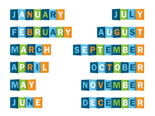 MONTHS of the YEAR (calendar agenda icons buttons)
