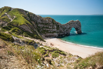 Durdle Door. South West Coastal Path, Dorset, UK.