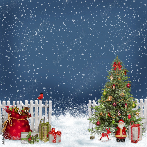 canvas print picture Christmas greeting background