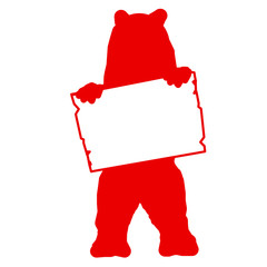 bs12 - BearSign - bear with blank signpost in red - short g1730
