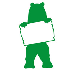 bs11 BearSign - bear with blank signpost in green - short g1729