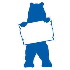 bs10 - BearSign - bear with blank signpost in blue - short g1728