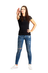 Woman with stop hand gesture