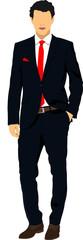 Handsome young man. Businessman. Vector illustration
