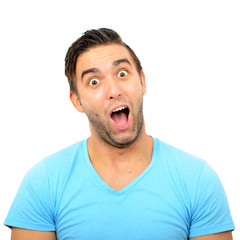 Portrait of man with funny face against white background