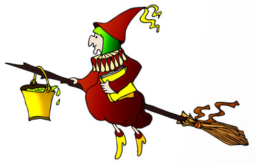 Old witch on the broom with poison