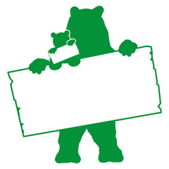 bs18 BearSign - bear with baby - blank signpost in green - g1736
