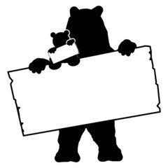 bs15 BearSign - bear with baby - blank signpost in black - g1733