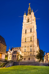 Belfry of Ghent in night, Belgium