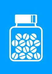Vial of medicine on blue background