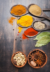 Spices in wooden spoons.  Food and cuisine ingredients.