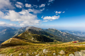 Path on the steep side of Kasprowy Wierch in Tatra mountains