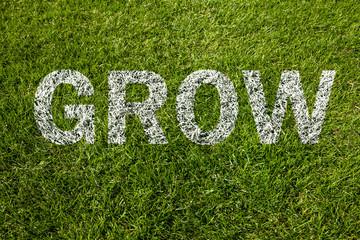 grow auf rasen geschrieben