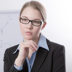 Junge Geschäftsfrau in Sorge