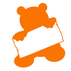 bs27 - BearSign - baby bear with blank signpost in orange g1745