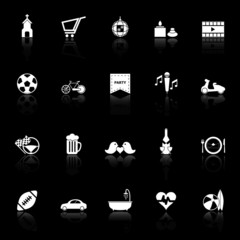 Friday and weekend icons with reflect on black background
