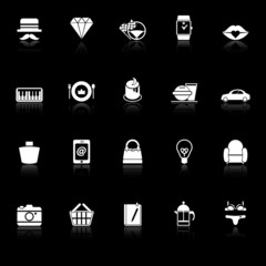 Department store item category icons with reflect on black backg
