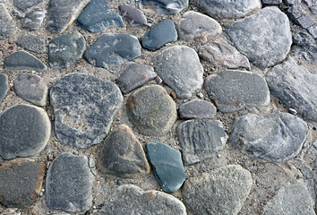 Texture of the pavement of big boulders