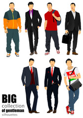 Collection of handsome young men. Businessmen. Vector illustrati