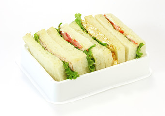 A selection of Sandwiches with various fillings at a buffet