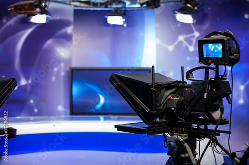 canvas print picture recording show in TV studio