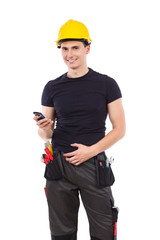 Mechanic with a smartphone