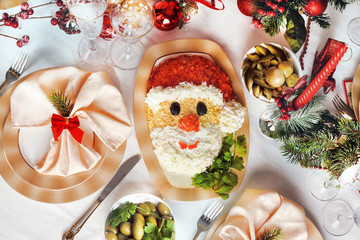 Christmas Santa Claus face salad