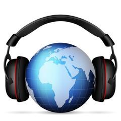 world globe headphone