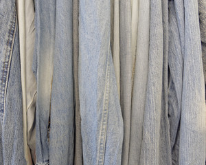 variety of jeans clothing