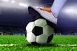 Feet on Soccer Ball in the Stadium