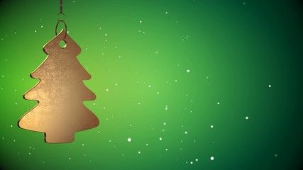 4K Video Of Golden Christmas Tree Tag - ray-traced