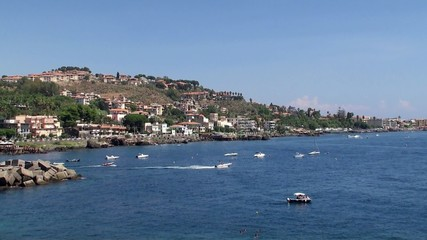 Sicilian Coast at Aci Castello town.