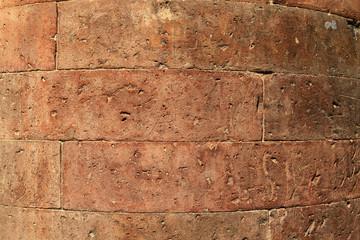 antique red brick column
