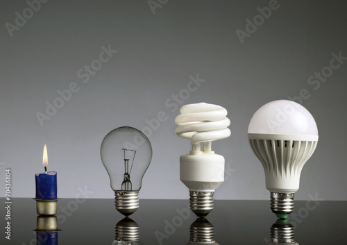Candle, tungsten bulb,fluorescent bulb and LED bulb - 70436804