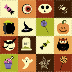 Patchwork background with Halloween elements
