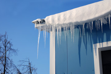 Icicles made of ice. Winter