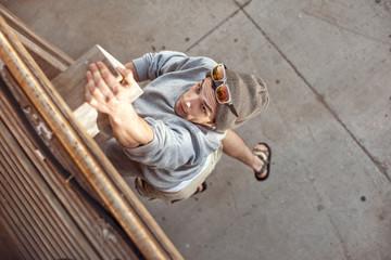 man jumping and climbing