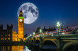 canvas print picture - Big Ben and the Houses of Parliament with full moon