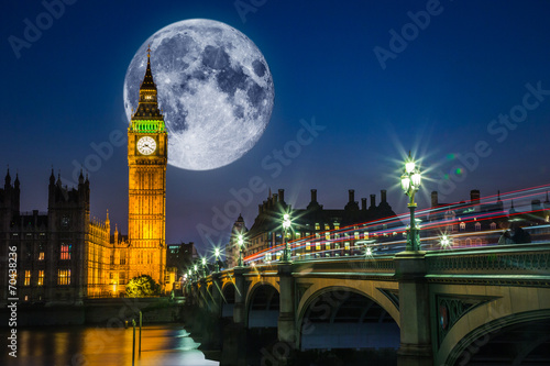 canvas print picture Big Ben and the Houses of Parliament with full moon