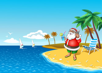 Christmas Santa On The Beach with smartphone