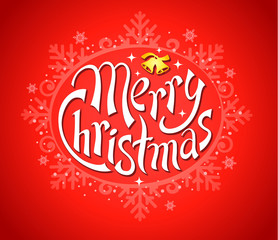 Merry Christmas red lettering, vector illustration