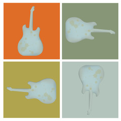 Set of four grunge lead guitar background