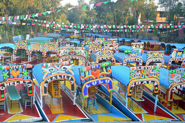Tourists boats of Xochimilco