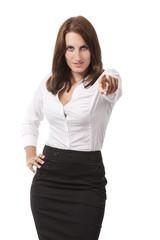 Businessfrau zeigt auf Dich