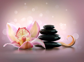 Spa Stones and Orchid Flower. Stone Massage