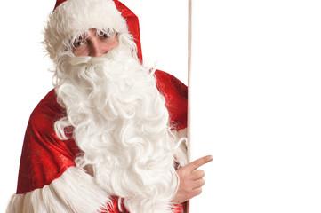 Weihnachtsmann zeigt auf Werbetafel