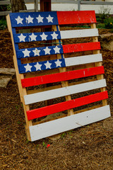 american flag painted on a pallette