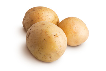 Group of potatoes isolated on a white background